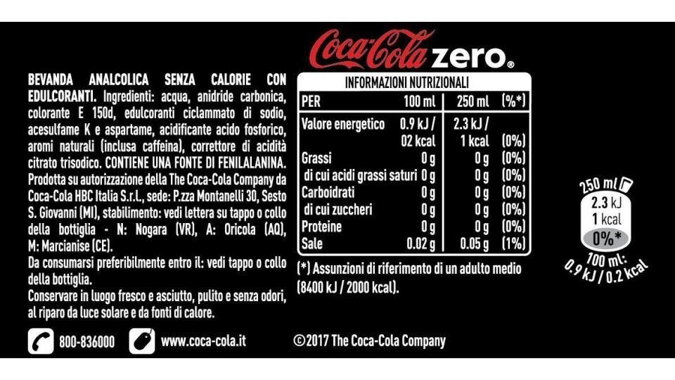 ingredienti coca zero
